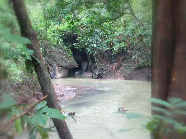 The Cabayugan River's entrance to the Saint Paul's karst mountain forming the underground river