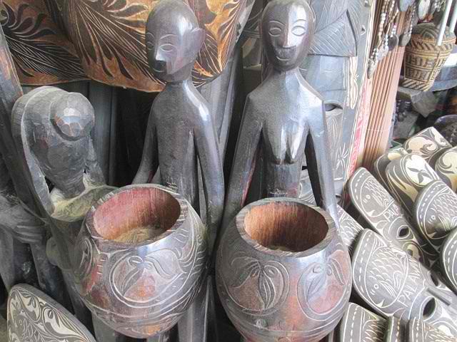 palawan wood carving woman man bowls